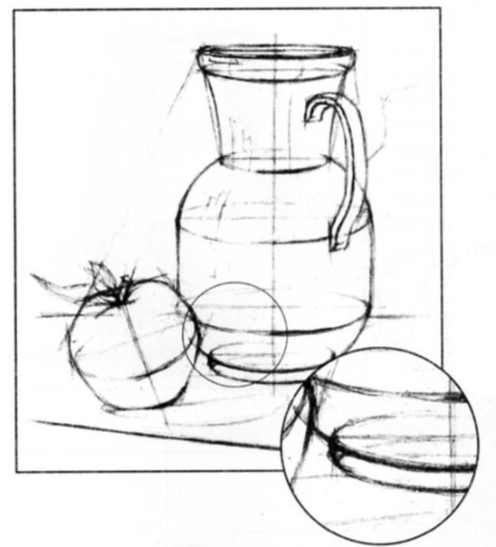 рисуем карандашом натюрморт поэтапно: