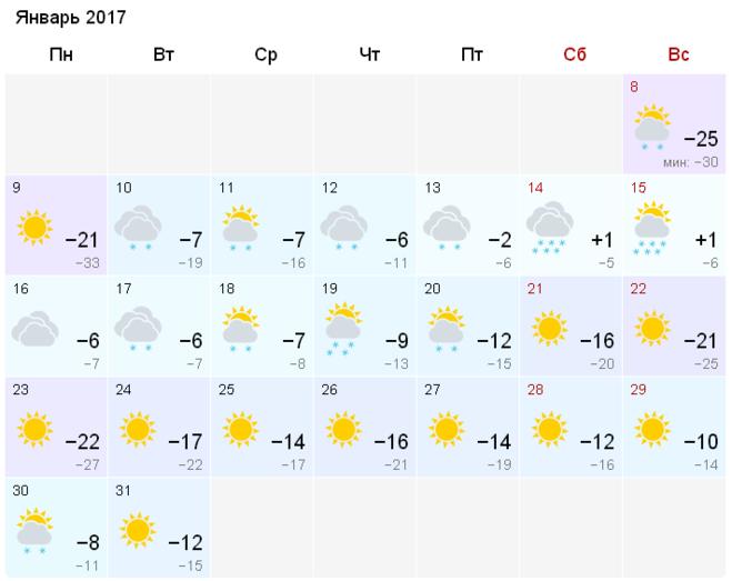 Погода в москве январь 2016