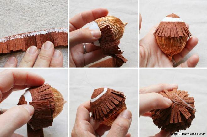 Как сделать шишки из гофрированной бумаги