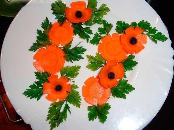Украшения на салаты из овощей