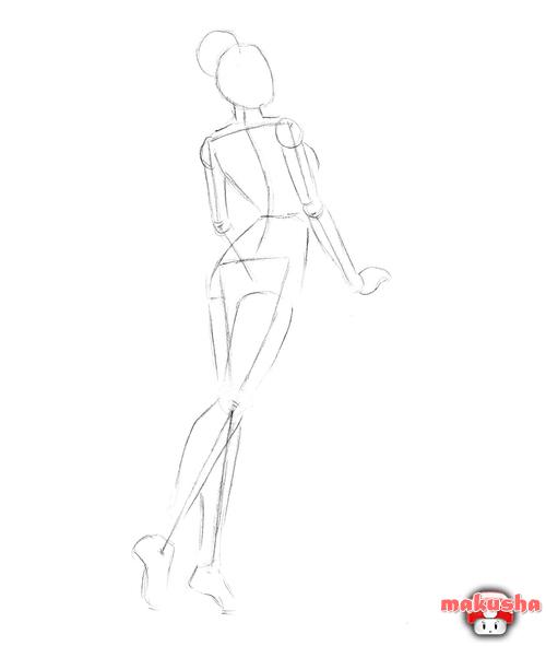 Девушки со спины карандашом поэтапно