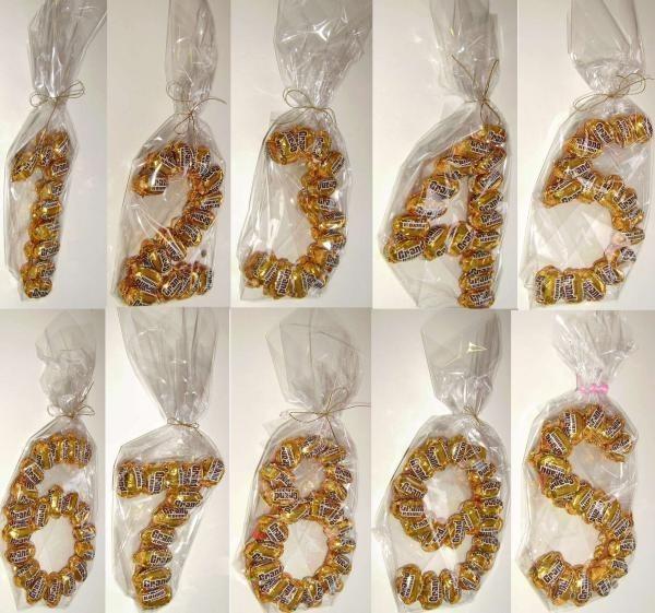 Цифры из конфет