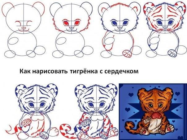 Рисуем тигрят поэтапно карандашом