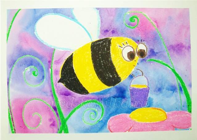 как нарисовать пчелу на цветке поэтапно для детей 4-5 лет мастер-класс