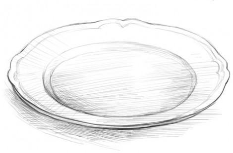нарисовать Лиса и журавль поэтапно тарелку
