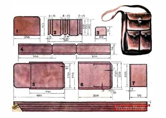 Как шить из кожи сумку мужскую