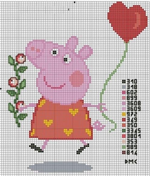 вышить свинью, поросенка крестиком своими руками, схема для вышивки