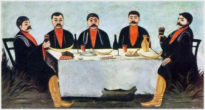 текст при наведении - Нико Пиросмани (Николай Асланович Пиросманишвили, 1862 - 1918) «Кутеж пяти князей» 1906