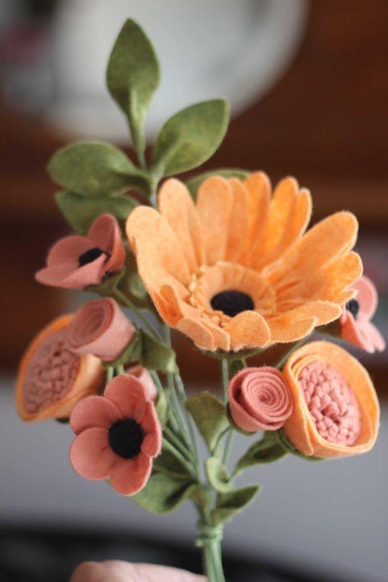 цветы из фетра букет своими руками