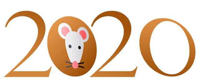 "надпись из цифр ""2020"" и знака зодиака Мыши"