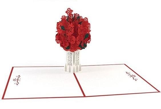 pop up объемная открытка с розой