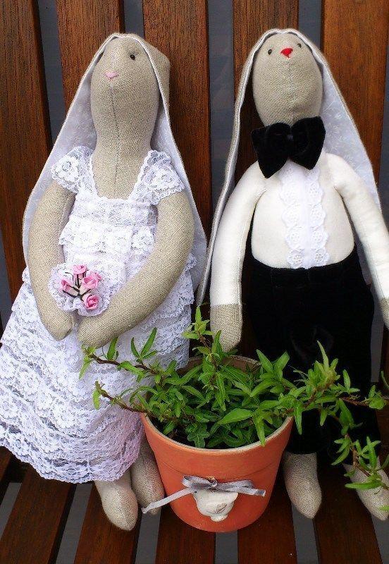 Свадебные зайцы тильдо