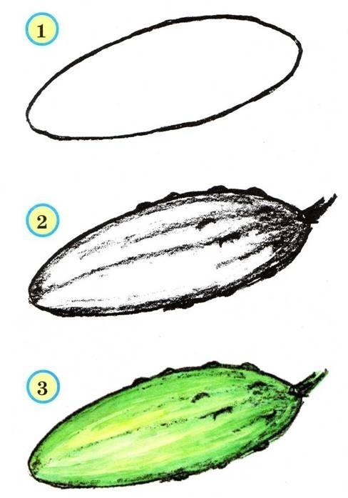 Нарисованные овощи краской поэтапно