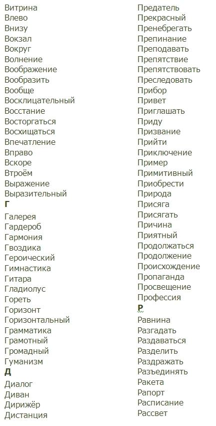 Словарные Слова 4 Класс Русский Язык