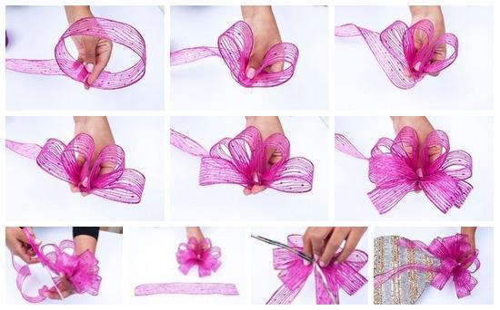 Как сделать красивый бантик из ленты для волос 431