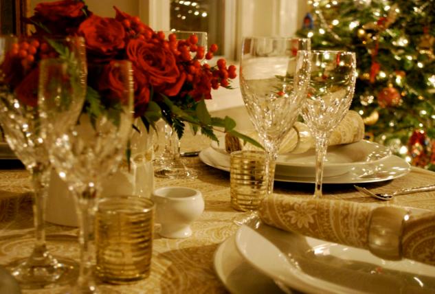 новый год украшение стола