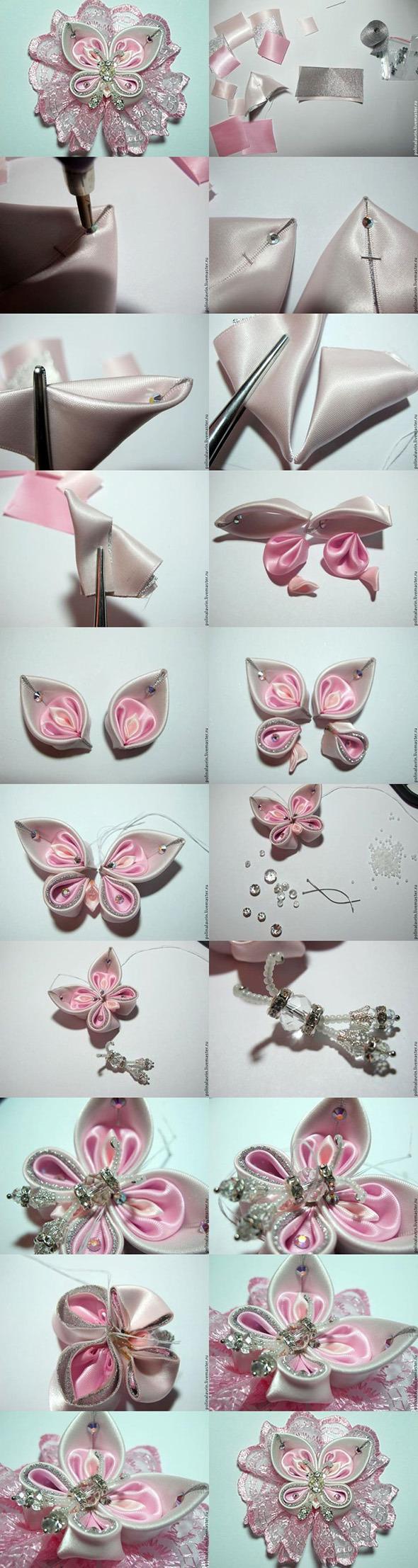 Как сделать бабочку своими руками из атласных лент