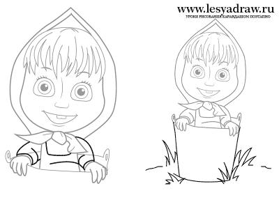 нарисовать Машу из мультфильма Маша и медведь поэтапно, своими руками
