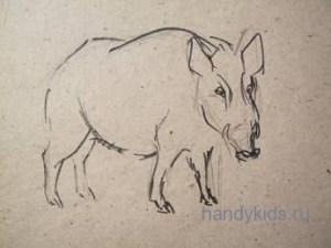 Как поэтапно нарисовать кабана карандашом поэтапно