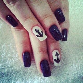 Якорь на ногтях нарисовать