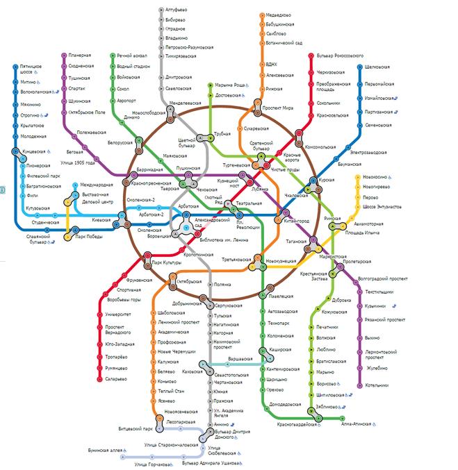 Схема метро москвы 2016 года