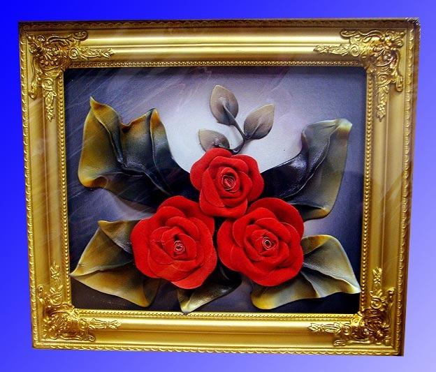 Как сделать картину из кожи роза