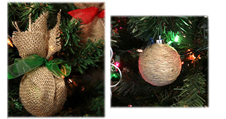 новогодний шар из джута и мешковин