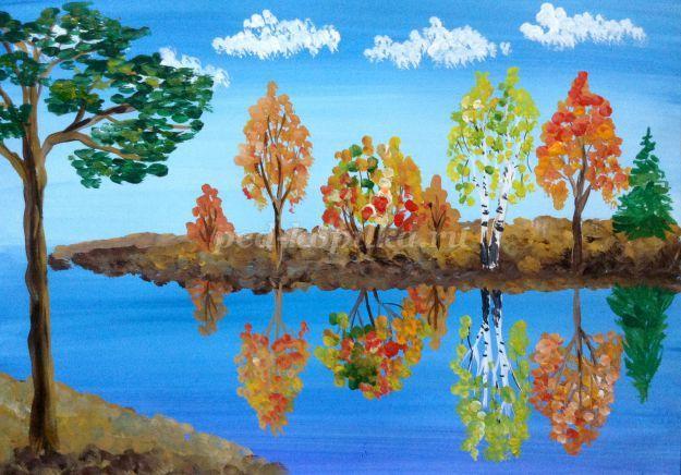 Нарисовать золотую осень красками поэтапно пейзаж
