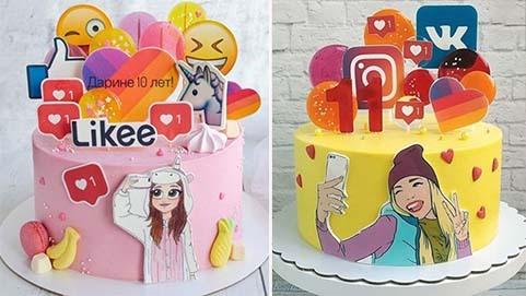 "Торт ""тик ток"" и лайки на день рождения девочке"