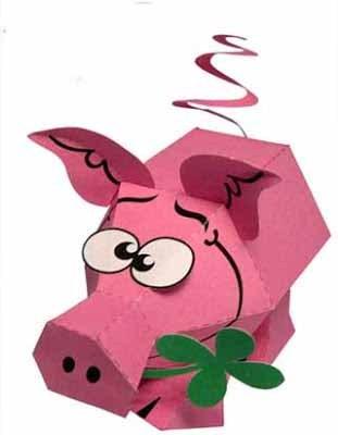 свинья в технике паперкрафт