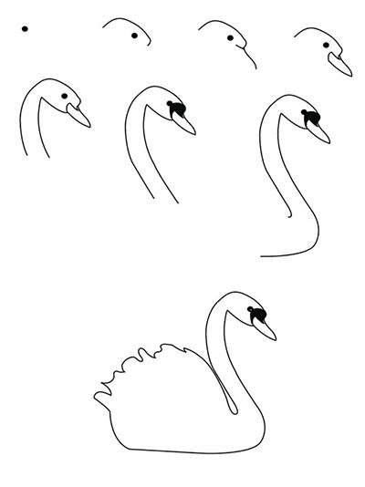 лебедь простой рисунок поэтапно