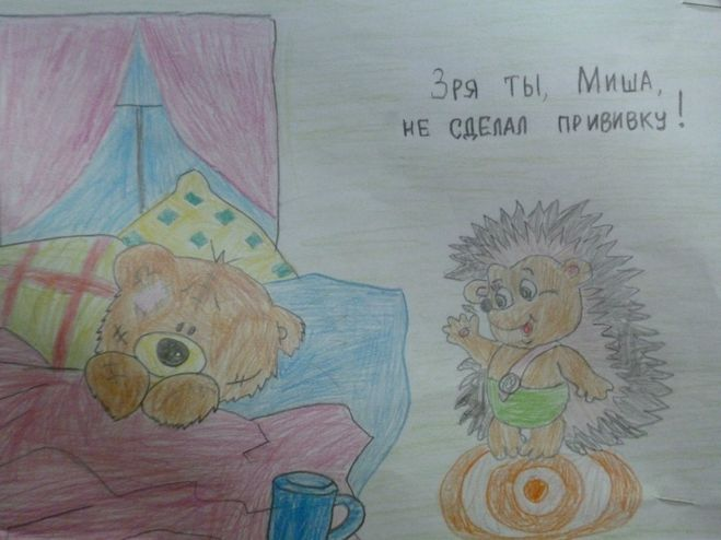 Детские рисунки о вакцинации
