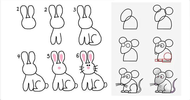 Нарисовать зайца поэтапно мышь