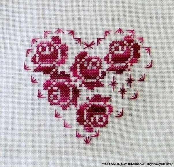 Вышивка крестом сердце из роз