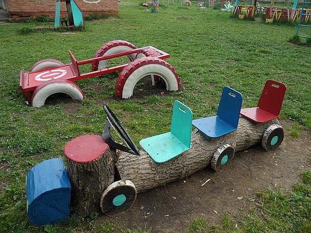 Машинки на участке детского сада своими руками