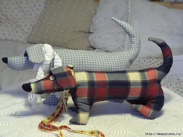 сшить собаку таксу из ткани, фетра