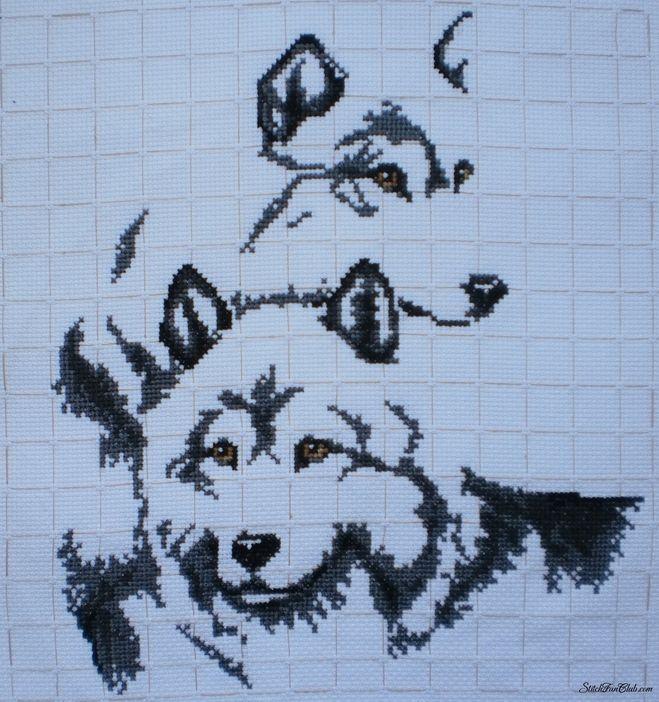 Скачать схемы вышивок пара волков
