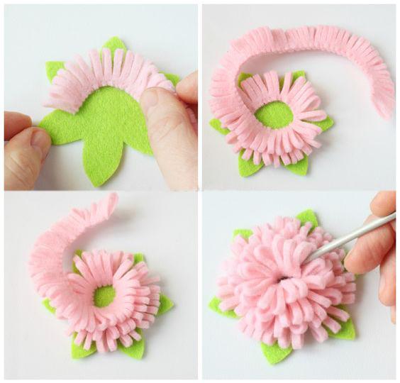 Как сделать из цветы из фетра своими руками 770