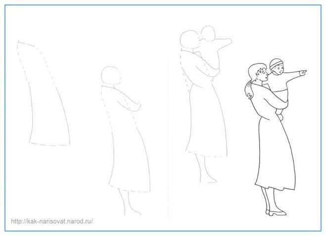 женщину в фартуке рисовать поэтапно