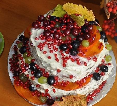 Торт с фруктами без выпечки на коржах рецепт с фото пошагово