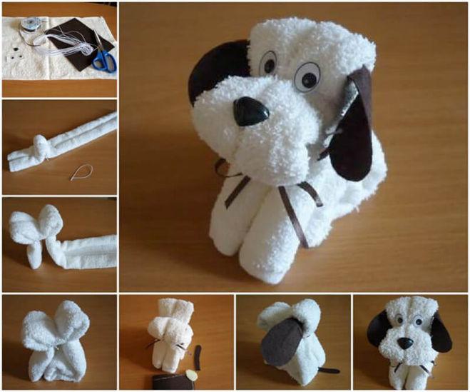 Как сделать из полотенца собаку