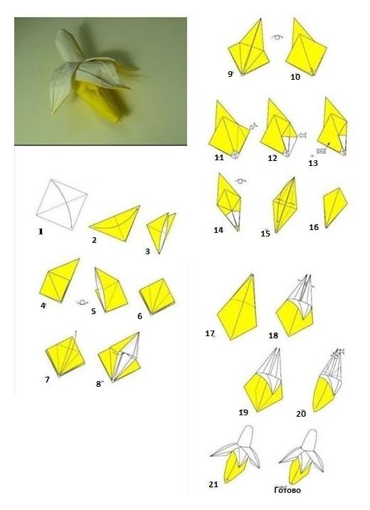 Банан оригами схема сборки