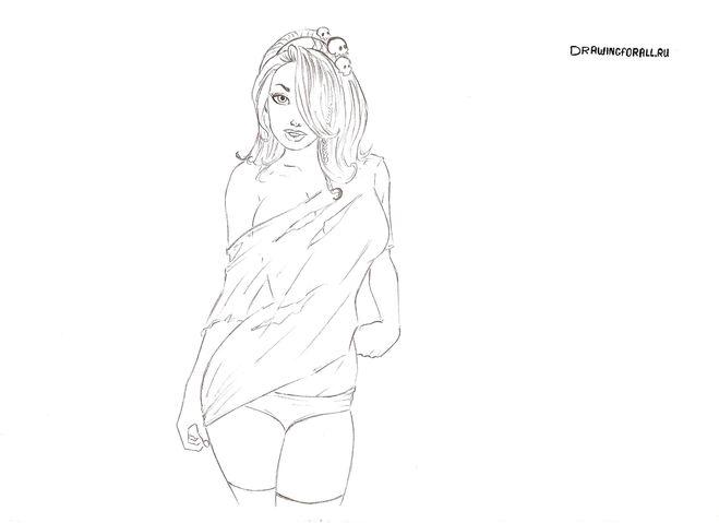 Сексуальные девушки на рисунке карандашом