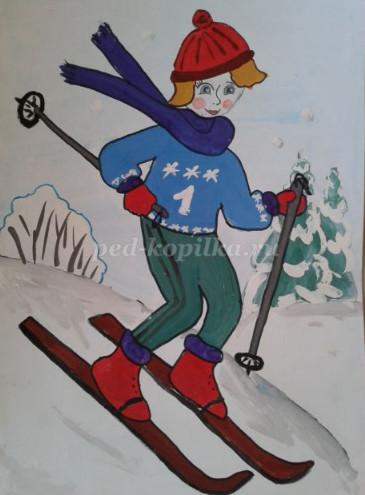 Как нарисовать мальчика на лыжах поэтапно для детей мастер-класс