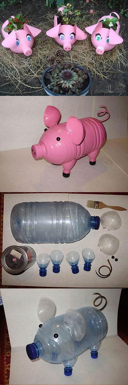 Фото поросенка из пластиковой бутылки пошаговая инструкция
