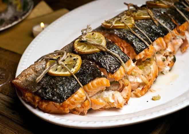 Рецепт фаршированный лосось в духовке
