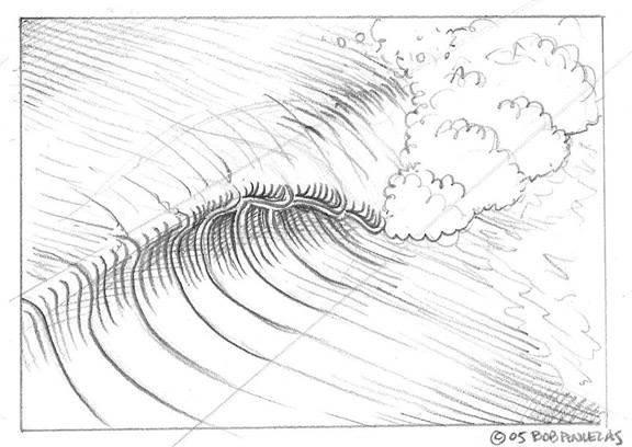 Drawing Lines Surf Movie : Как нарисовать волны карандашом поэтапно