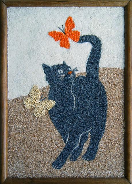 Аппликацию кота, котенка из крупы, зерен как сделать своими руками?