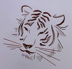 Тигра в технике изонить