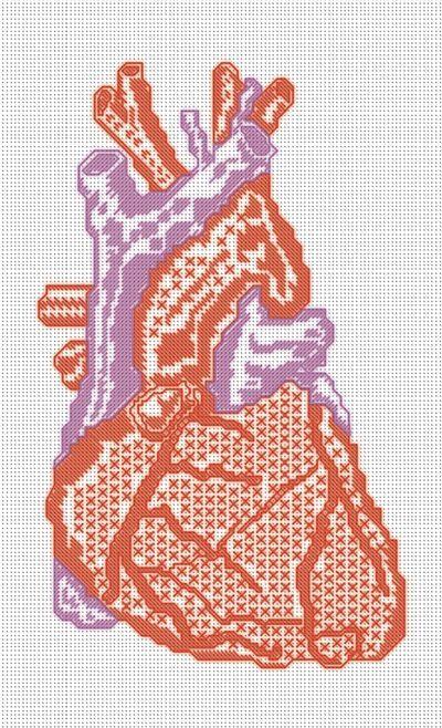 реалистичное анатомическое сердце вышивка крестиком схема